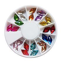 24PCS 12-Color Glitter Diamond Shaped Rhinestones Nail Art