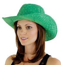 Glitter Sequin Trim Cowboy Hat, Green