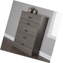 South Shore Gloria 5-Drawer Dresser, Gray Maple with Brass