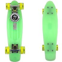 Glow Dark Green Fish Skateboard Plastic Retro Cruiser Yellow