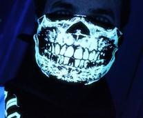 GLOW IN THE DARK SKULL BANDANA FACE MASK HALLOWEEN RAVE
