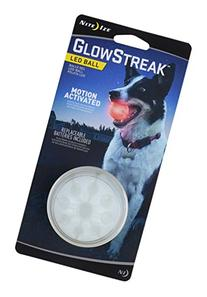 Nite Ize GlowStreak LED Dog Ball, Lights Up for Night Play,