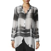 Go By Go Silk Go Sheer Button-Front Plaid Tunic