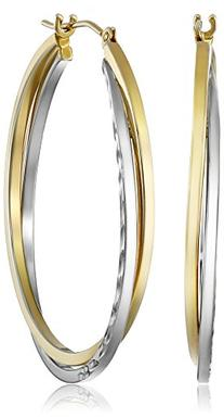14k Gold-Bonded Sterling Silver Hoop Earrings