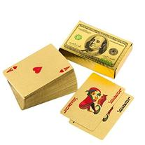 LLF 24K Gold Foil 100 USD Pattern Poker Playing Cards Games