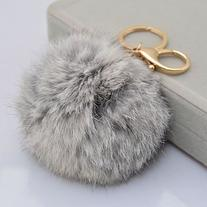 Leegoal Novelty Artificial Rabbit Fur Ball Charm Key Chain