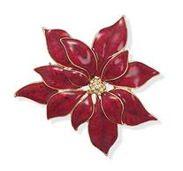 14 Karat Gold Plated Red Poinsettia Fashion Pin
