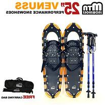 """New MTN 25"""" Gold All Terrain Snowshoes+ Blue Nordic Pole +"""