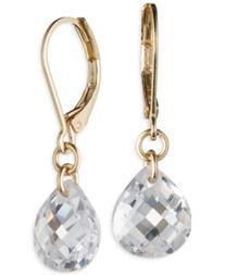 T Tahari Gold-Tone Crystal Drop Earrings