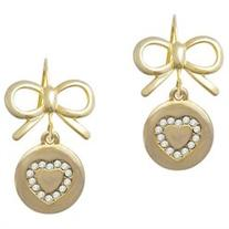 Gold Tone Disc with Crystal Heart Gold Tone Layla Bow French