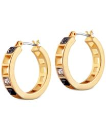 T Tahari Gold-Tone Scattered Crystal Earrings