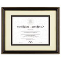 Gold-Trimmed Document Frame w/Certificate, Wood, 8 1/2 x 11