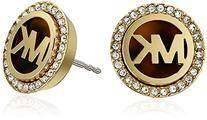 Michael Kors Golden Tortoise Logo Pave Stud Earrings
