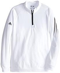 adidas Golf Boys 3 Stripes 1/2 Zip Shirt, White/Black, Small