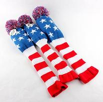 Golf Club Knit 3pcs Headcover Set Vintange Pom Pom Sock