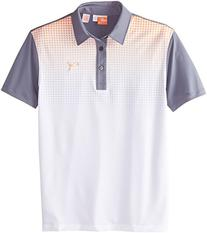Puma Golf Boys Junior Glitch Polo, Vibrant Orange/Gray, X-
