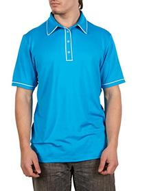adidas Golf Men's Puremotion Piped Polo, Solar Blue/White,