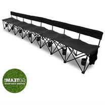 GoTEAM! Pro 8 Seat Portable Folding Team Bench - Black