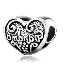 Grandma Charm Heart Love European Bead by Pugster Charms