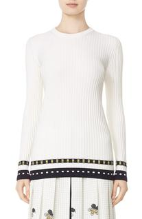 Women's Victoria Beckham Graphic Rib Knit Sweater, Size 1 -