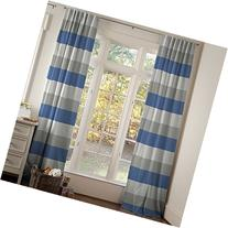 Carousel Designs Gray and Denim Blue Wide Stripe Drape Panel
