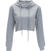 Gray Solid Color Drawstring Hooded Crop Sweatshirt