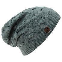 Luxury Divas Gray Oversize Slouchy Cable Knit Beanie Cap Hat