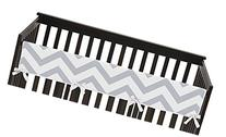 Gray and White Chevron Zig Zag Long Front Rail Guard Baby