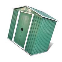 vidaXL Green Apex Roof Metal Garden Shed Incl. Foundation 95