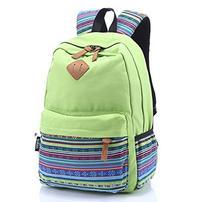 Green Canvas School Bag Casual Daypack, Rbenxia Girls