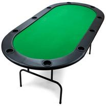 Green Felt Holdem Poker Table with Cup Holders - 82 x 42