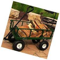 Sunnydaze Green Heavy-Duty Steel Log Cart, 34 Inches Long x