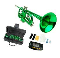 MERANO GREEN LACQUER PLATED TRUMPET WITH CASE + FREE METRO