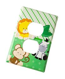 Sticker Green safari animals on outlet cover