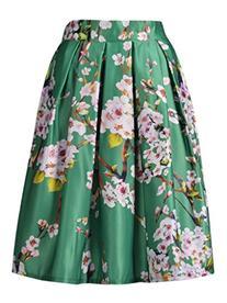 Choies Green Sakura Skater Skirt With Pleat
