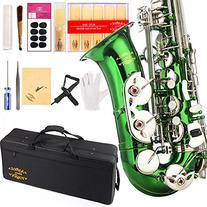 Glory Green/Silver keys E Flat Alto Saxophone with 11reeds,8