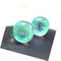 Small Green Stud Earrings in Sparkling Dichroic Fused Glass