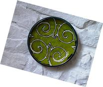 Green Wall Hanging Plate, Pottery Wall Decor, Wheel Thrown