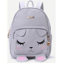 Grey Cat Face Design Cute Backpack