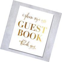 Guest Book Gold Foil Wedding Sign Reception Signage Please