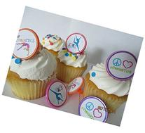 Gymnastics Peace Love Rings cupcake toppers - set of 12 -