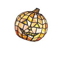"Meyda Lighting 24733 7""H Jack O'Lantern Tiffany Glass Accent"