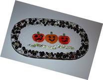 Halloween pumpkin triplet glass fused plate by YafitGlass