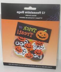 Halloween Resealable Pumpkin Trick or Treat Favor Bags with