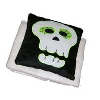 Halloween Scary Skull Accent Pillow & Super Soft Ivory Throw