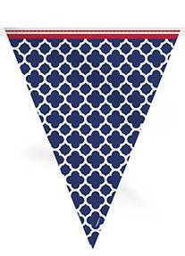12ft Hamptons Navy Quatrefoil Pennant Banner