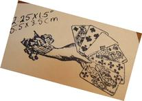 Hand with Playing Cards Wm Rubber Stamp P13