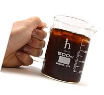 Premium Hand Crafted Beaker Mug, Thick Borosilicate Glass,
