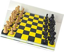 Hand made fused glass yellow and black chess and/or checkers