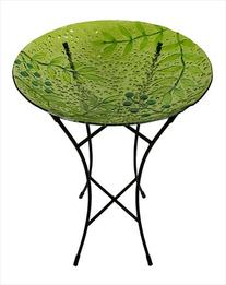 NorthLight 21 in. Hand Painted Glass Green Leaves And